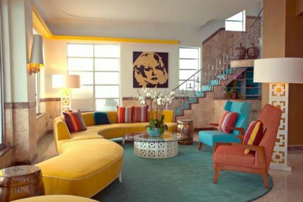 Emejing Wohnzimmer Blau Grun Photos - Home Design Ideas ... Wohnzimmer Blau Gelb