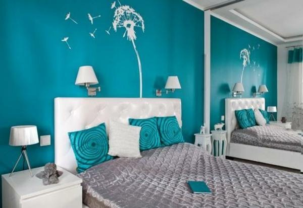Wandfarbe Türkis - 42 tolle Bilder! - Archzinenet - schlafzimmer gestalten wandfarbe