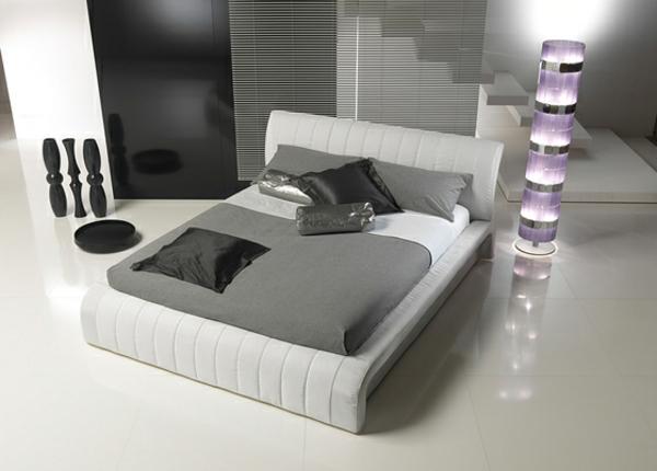 Bett Mit Minimalistisch Grauem Design Bilder - Design