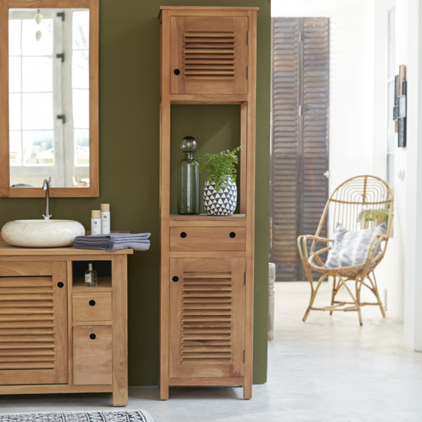 Badezimmer Hochschrank Holz U2013 Edgetagsinfo   Badezimmer Qbig