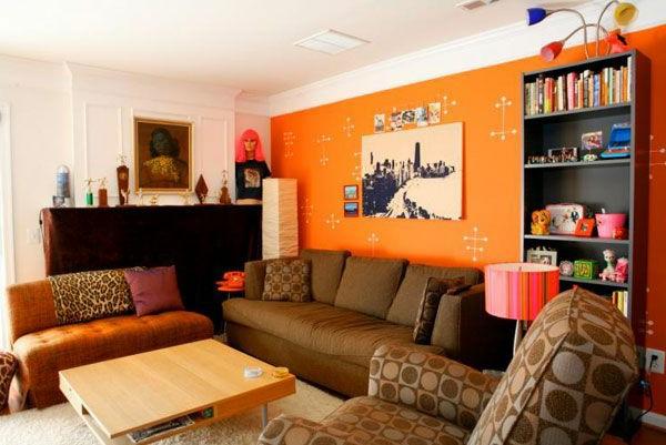 Großartig Orange Wand Wohnzimmer Ideen - Die besten ...