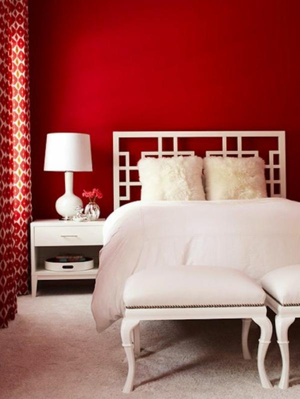 Rote Wand - 50 Ideen mit Wandfarbe Rot ! - Archzinenet - schlafzimmer gestalten wandfarbe