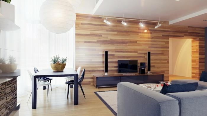 Tapete in Holzoptik - 24 effektvolle Wandgestaltungsideen - schone wohnzimmer