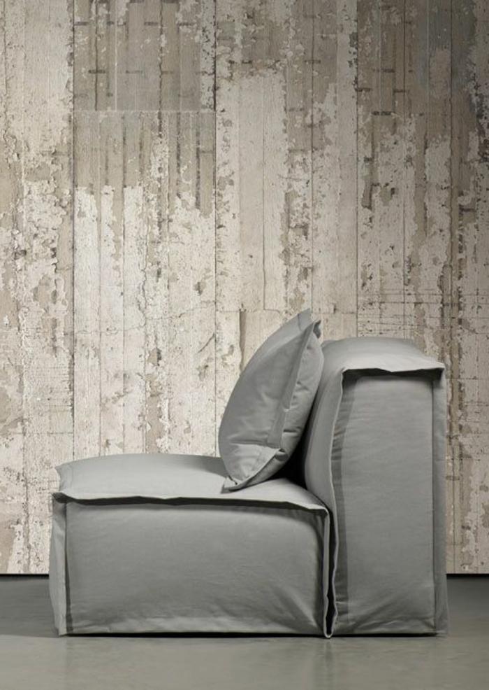 Tapete in Holzoptik - 24 effektvolle Wandgestaltungsideen - tapete steinoptik wohnzimmer