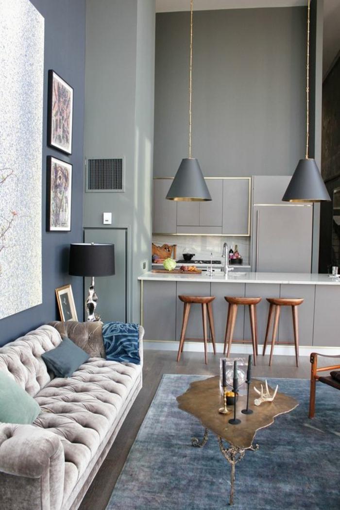 Wunderbar Blau Graue Wände Küche Zeitgenössisch - Küchenschrank ...