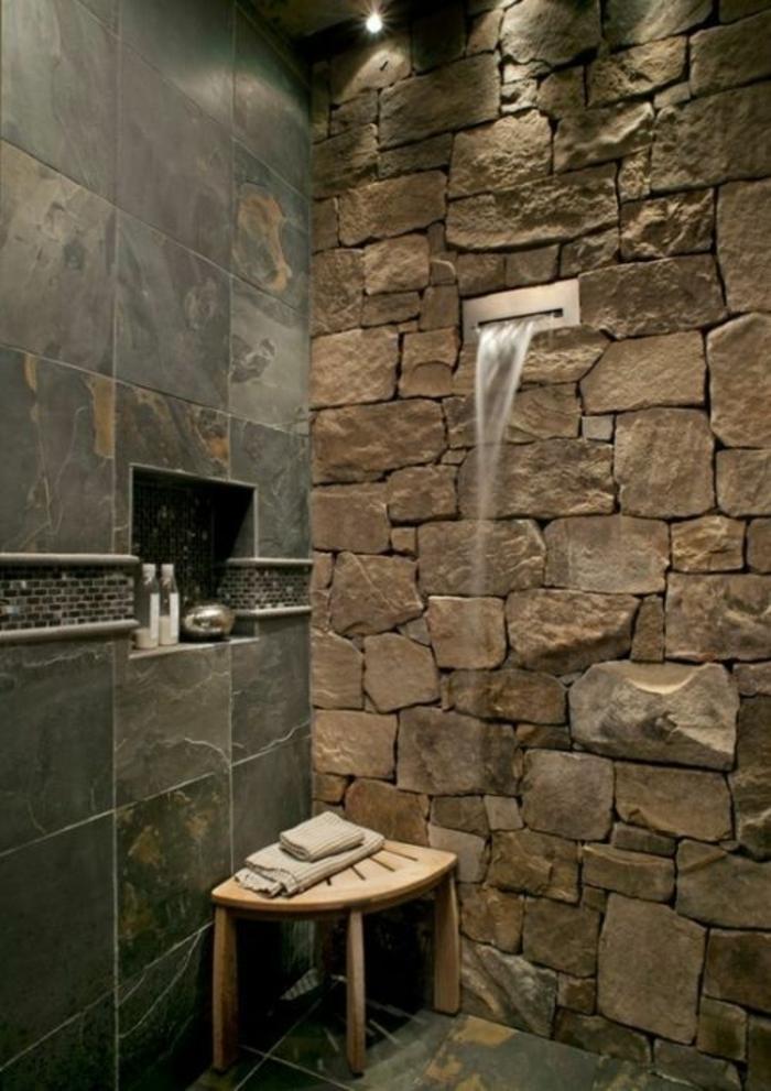 Steinwand Bad Dusche - Wohndesign