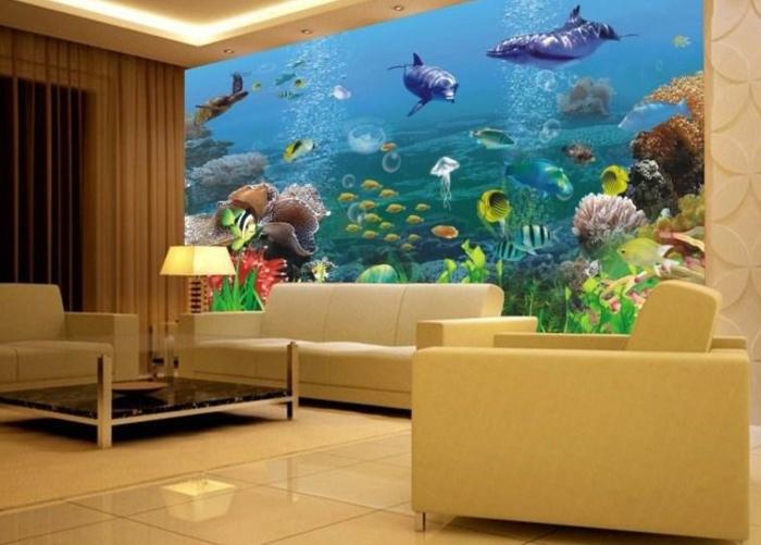 Aquarium Im Schlafzimmer  Unterwasserwelt Wandgestaltung Im Wohnzimmer Archzine