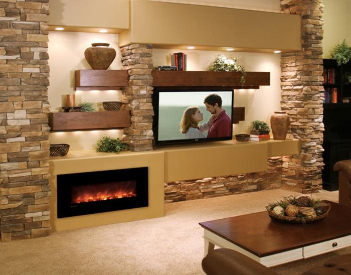 akzent paneel als wandpaneele sowie steinwand für ihr wohnzimmer, Wohnideen design