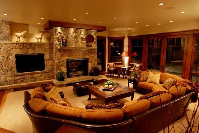 115 schöne Ideen für Wohnzimmer in Beige! - Archzinenet - steinwand wohnzimmer braun