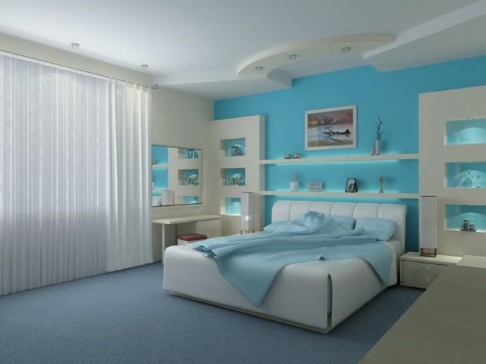 50 beruhigende Ideen für Schlafzimmer Wandgestaltung - Archzinenet - schlafzimmer in turkis