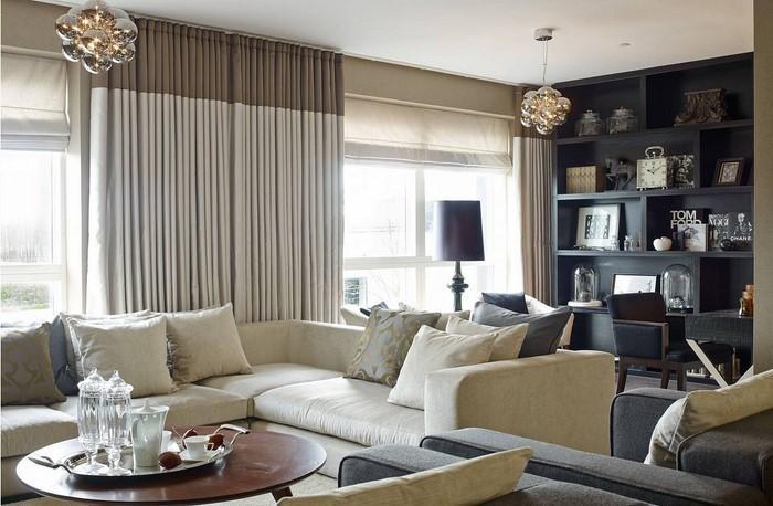 Wohnzimmer grau einrichten und dekorieren - creme graues wohnzimmer