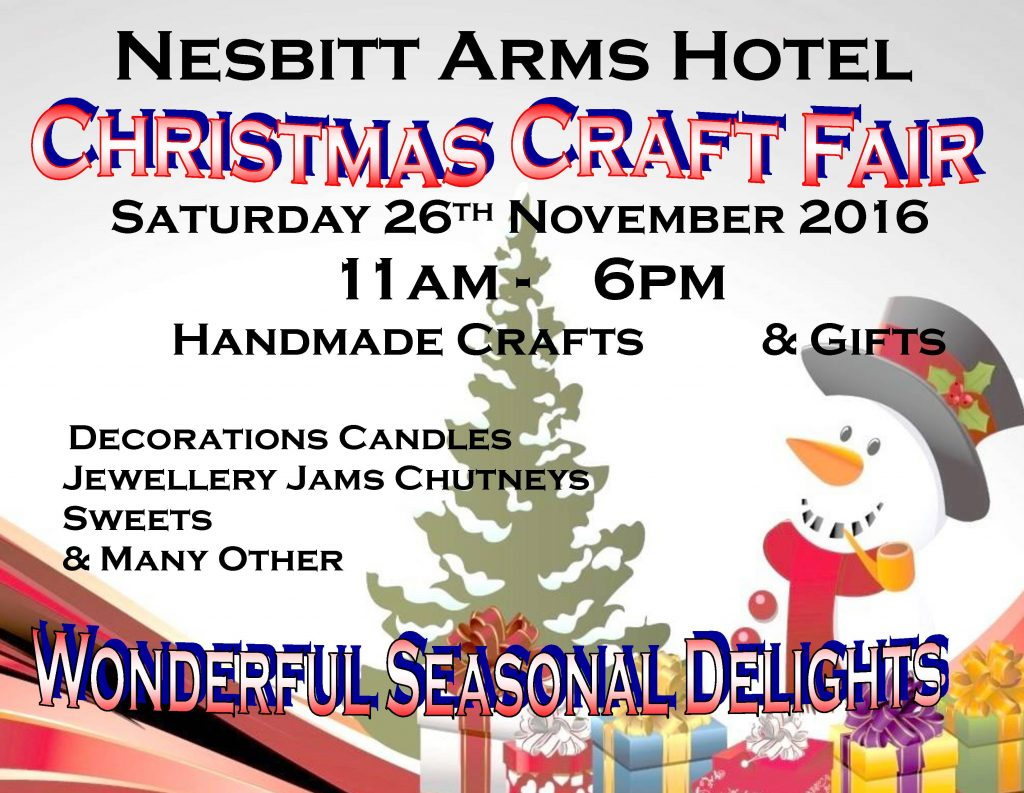 CHRISTMAS CRAFT FAIR At The Nesbitt Arms Hotel