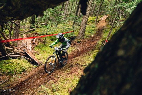 Pemberton's Davis English tearing through the moss on Blackcomb