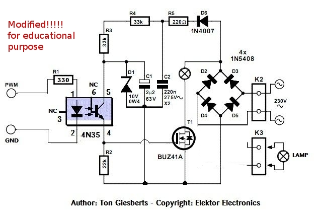220v ac lamp touch dimmer schematic design
