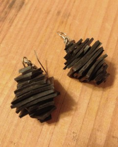 Earrings made from bike tubes