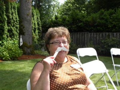 Mustache and tiara game at bridal shower