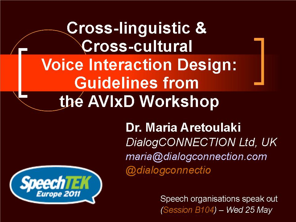 Cross-linguistic & Cross-cultural Voice Interaction Design (2/2)