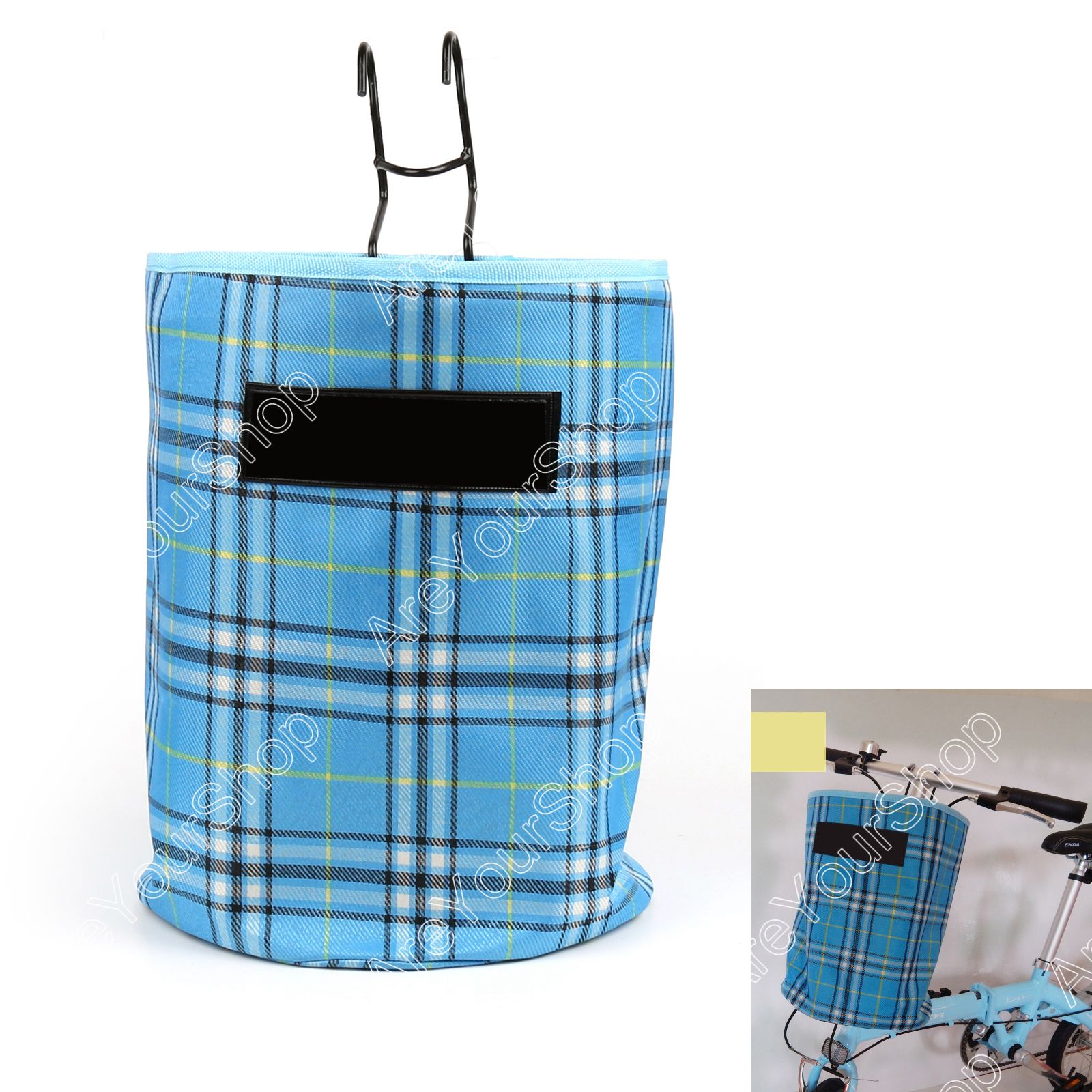 Canvas Hamper Bags Bike Bicycle Front Folded Handlebar Canvas Storage Basket