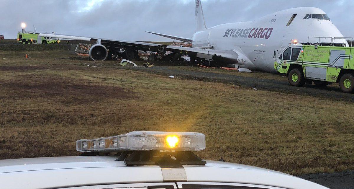Cargo plane goes off runway on landing in Halifax, sending five crew
