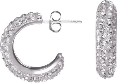 Buy Sterling Silver Crystal Half Hoop Earrings at Argos.co