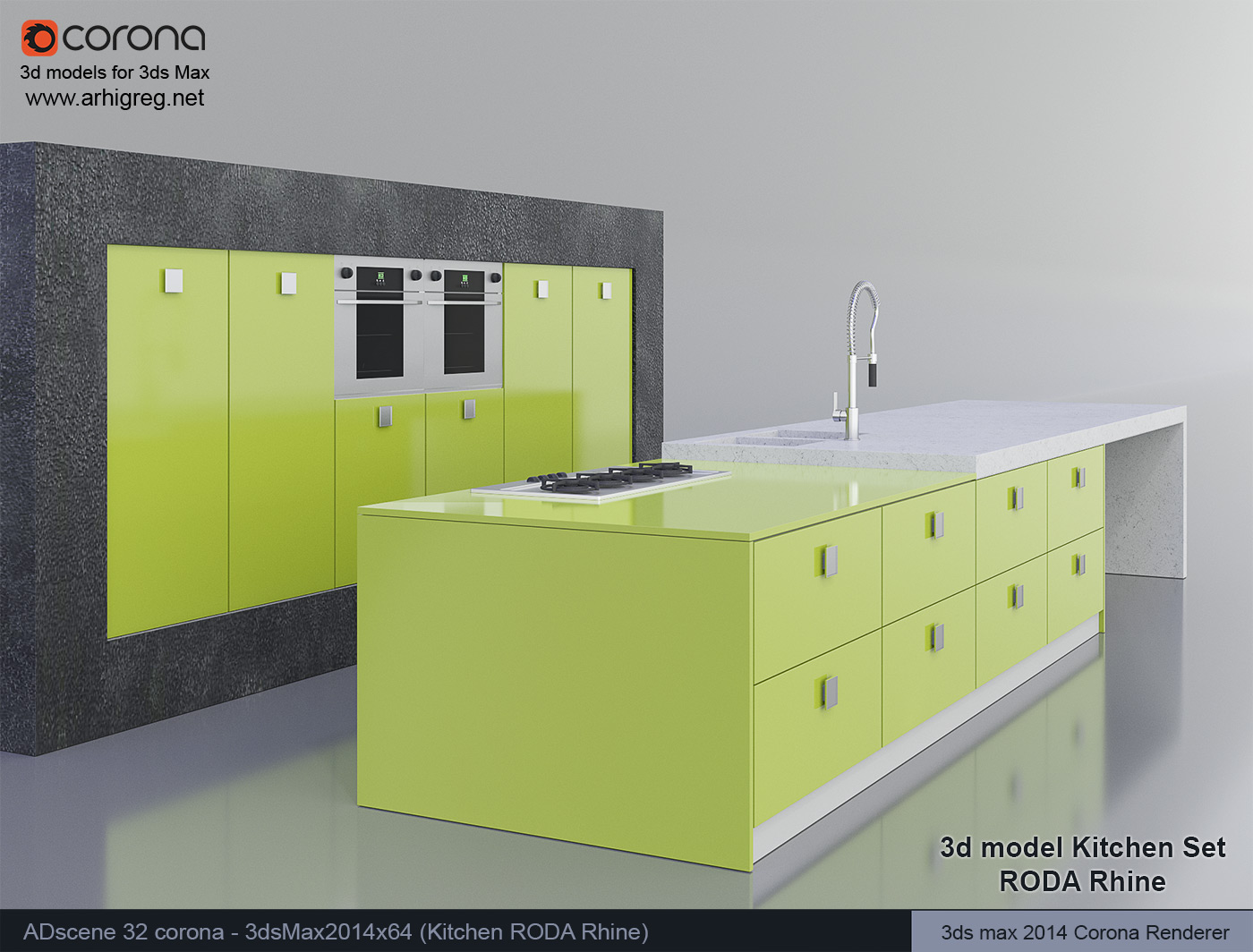 Kitchen Design 3d Model 3d Model Kitchen Set Roda Rhine