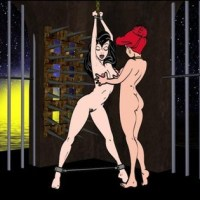 Ariel loves to play with her daughter Melody in a mistress-slavegirl games in a cell...