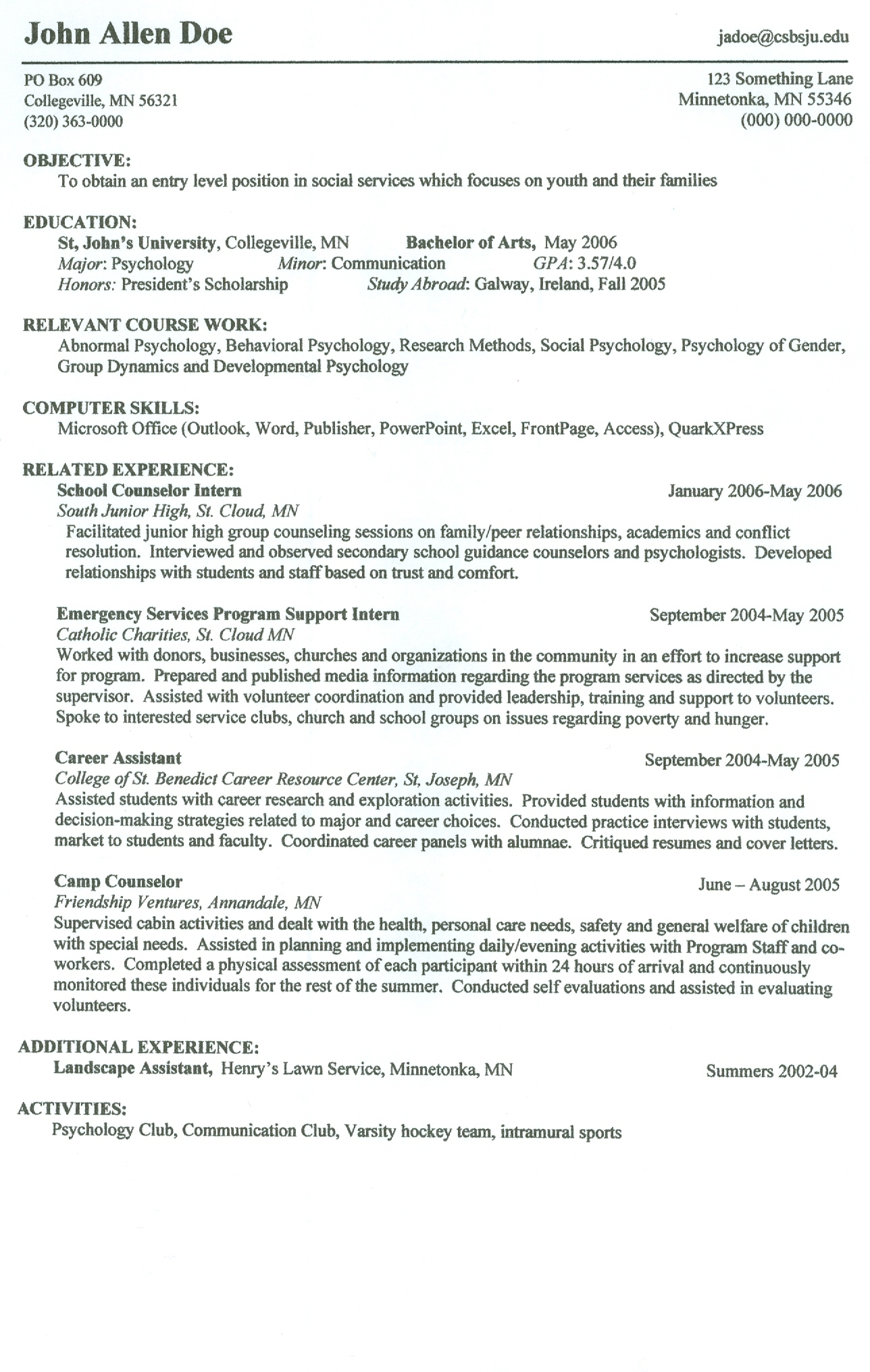 show me an example of a job resume