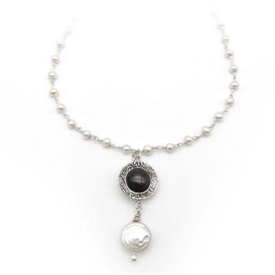 Mini Strand Silver Pearl Necklace Round