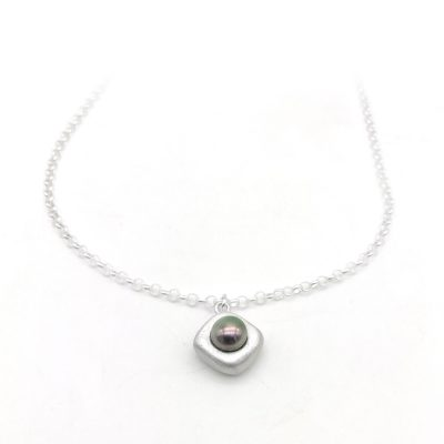 Diamond Silver Pearl Necklace Peacock