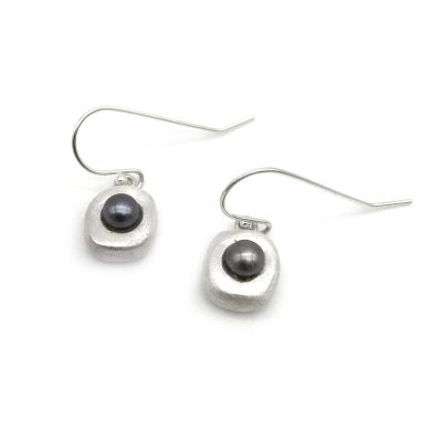 Peacock Silver Pearl Earrings