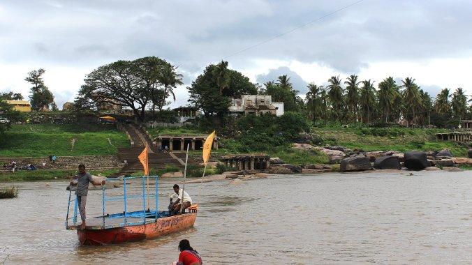 Crossing the Tungabadra River to Virupapur Gaddi on a ferry.