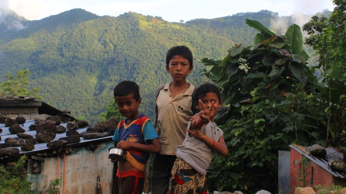 Local Nepalese children posing for the camera at Begnas Lake.