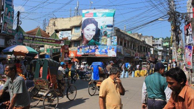 People of Bangladesh. Crowded street junction in Khulna, Bangladesh.