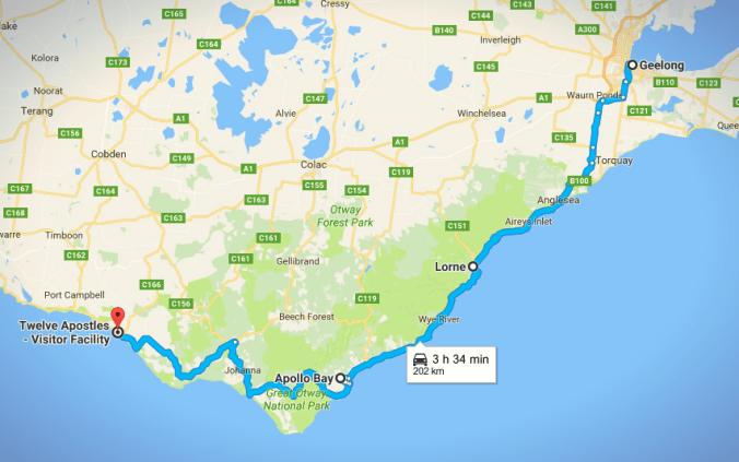 The route from Geelong to the Twelve Apostles.