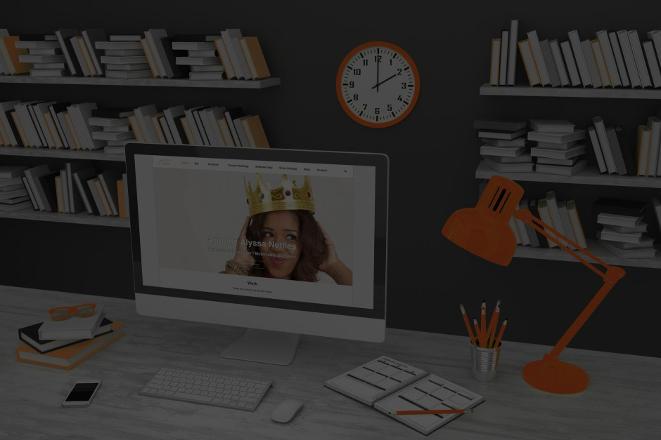 3D illustration PC screen on table in office, Workspace