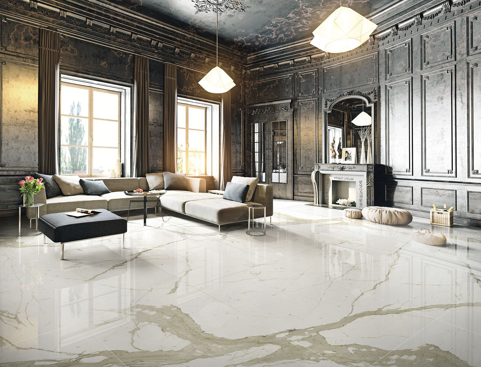Piastrelle Marmo System 200x100 Marbles Porcelain Stoneware Marble Effect Flooring For Indoor