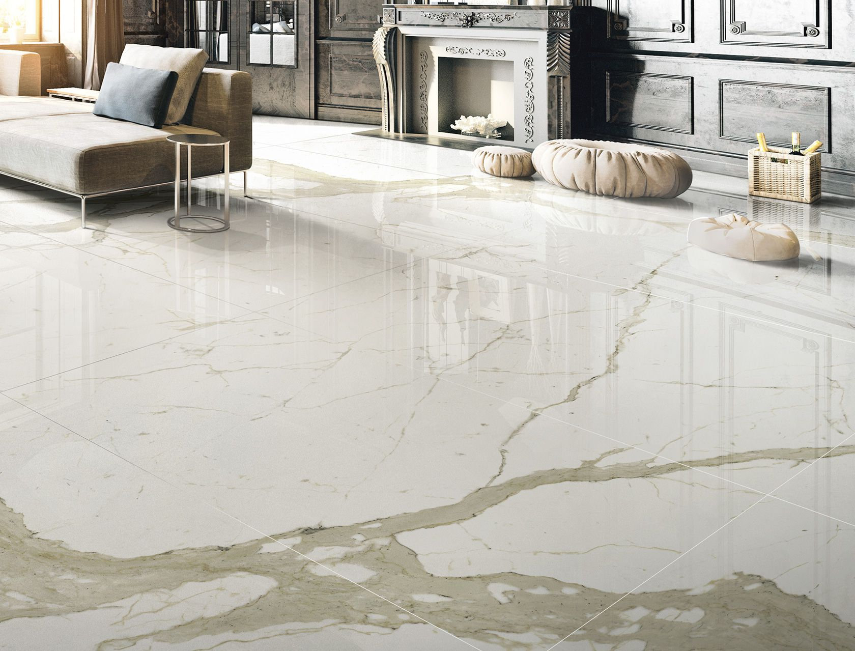 Piastrelle Marmo System Bianco Calacatta Marmi Cento2cento White Marble Effect Floor And