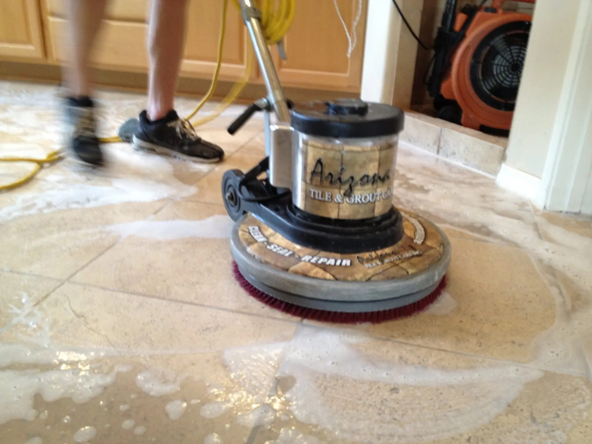 Travertine Countertop Care Travertine Tile Cleaning Using Soft Pads Photo By Az