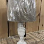 Lamp and shade available at arkvintage and online. Beautiful distressed white base, including shade.online or in store Camberley surrey