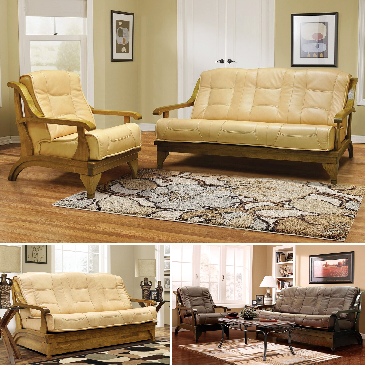 Couch Sessel Partner Couchgarnitur, Leder - Couch Mit Schlaffunktion, 2 Sessel - Beige / Braun