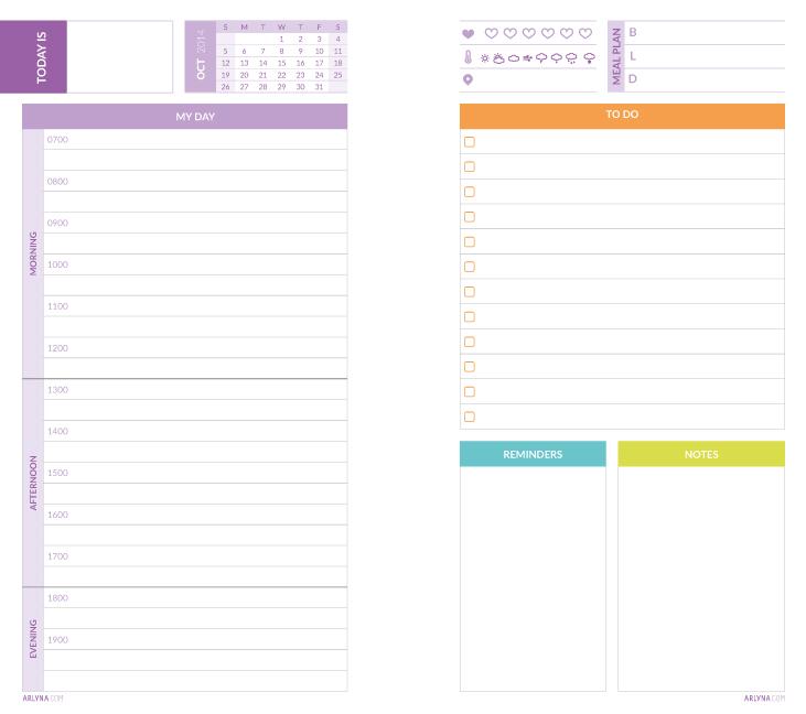 Printables Daily Planner Pages for October \u2013 abloggism