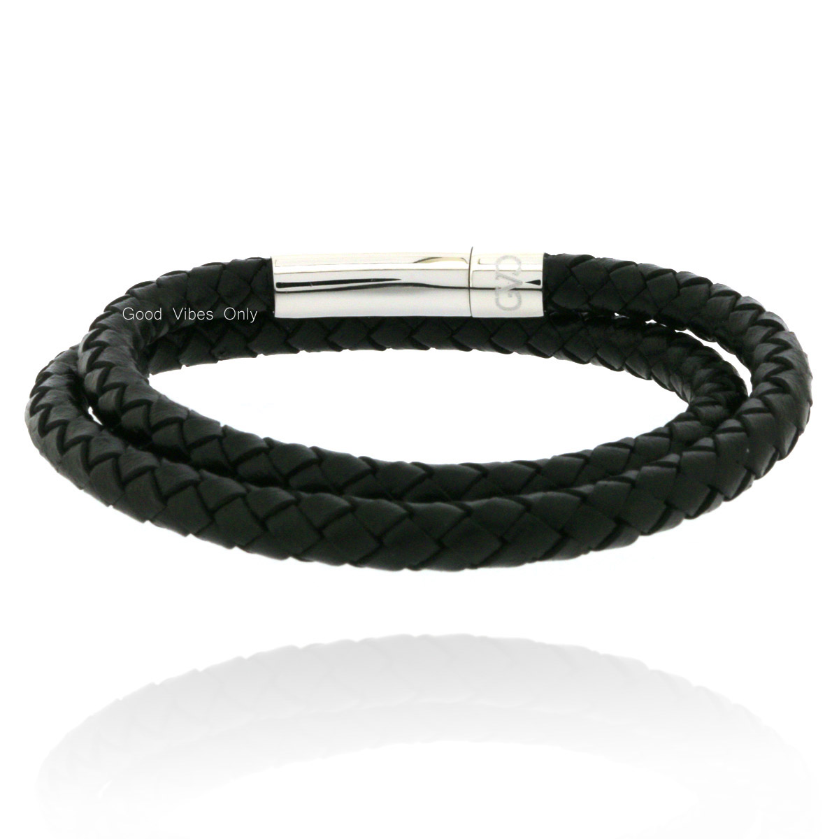 Magneet Armband Stainless Steel Black Braided Leather Bracelet