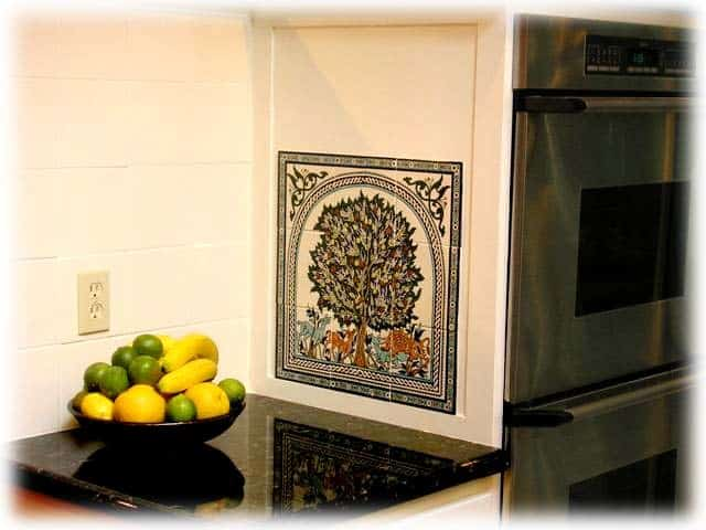 Kitchen Without Backsplash Tile Mural Of The Tree Of Life Of Jerusalem - Balian Studio