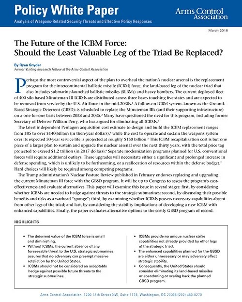 The Future of the ICBM Force Should the Least Valuable Leg of the - White Paper Pdf