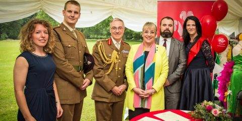 Charlene (far right) was present as The Prince's Trust signed the Armed Forces Covenant