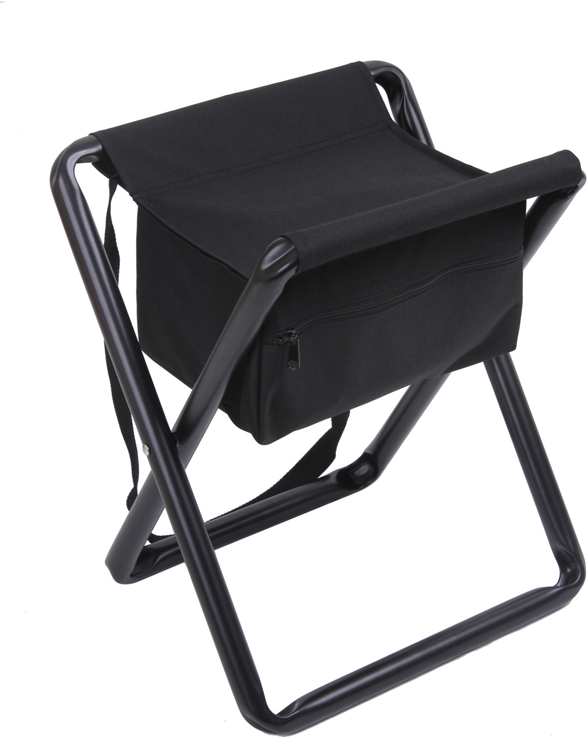 Collapsible Chair Black Deluxe Folding Chair Stool With Storage Pouch