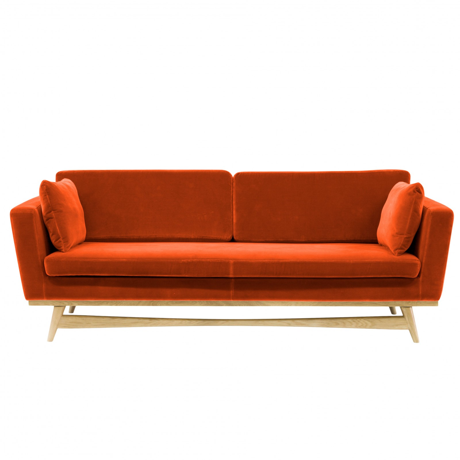 Vintage Couch Large Vintage Sofa Orange Velvet