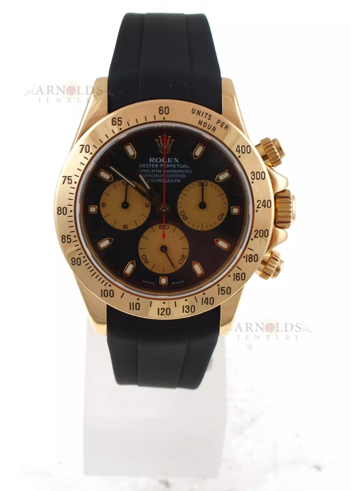 Rolex Rubber Pre Owned 2002 Rolex 18kt Yellow Gold Daytona Watch With Black