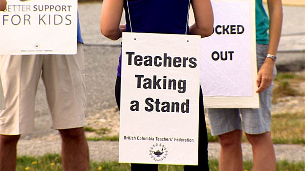 Picket signs at B.C. teachers' picket lines.
