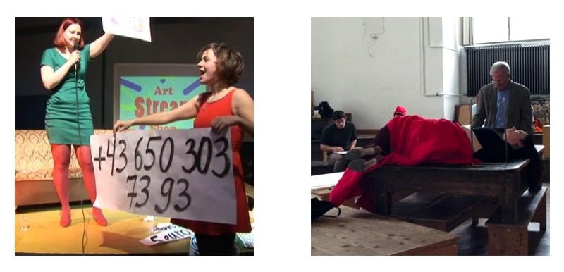 Перформанс по продаже искусства во время Rundgang 2013 в мастерской Медиа; Занятие экспериментального рисунка.